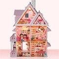 O Envio gratuito de Montagem DIY Kit Modelo de Casa De Boneca De Madeira Em Miniatura, Único Big Size Casa Toy Com Móveis