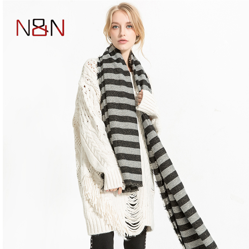 Winter Cashmere   Scarf   Women Luxury Brand Shawls Black And White Striped   Scarves   Warm Blanket Shawls and   Scarves     Wraps   NN-CS-035