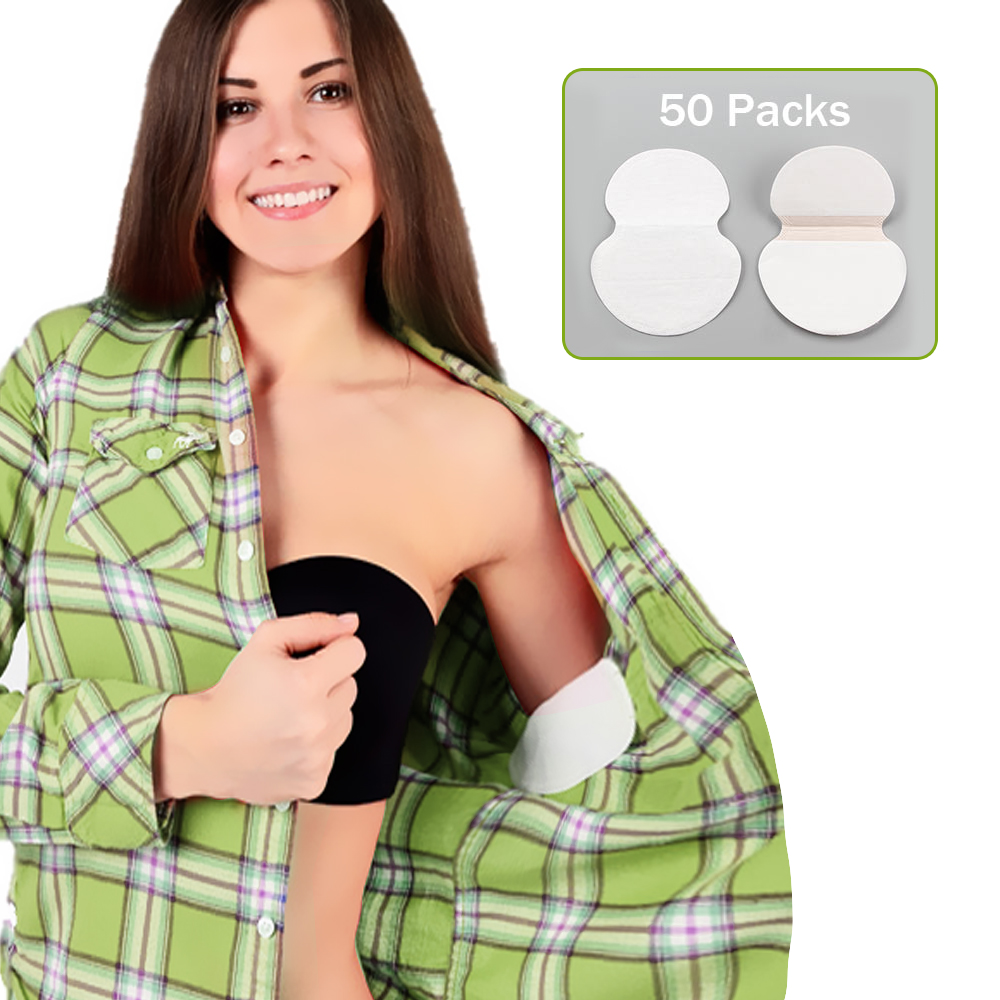 100pcs Summer Deodorants Underarm Pads Kit 50 Packs Absorbent Sweat Pads Armpit Sticker Disposable Anti Perspiration Patch Women