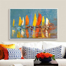 Hand made Abstract Canvas Art bright sailboat modern Wall Pictures For Living Room Modern blue orange ship Painting Home Decor