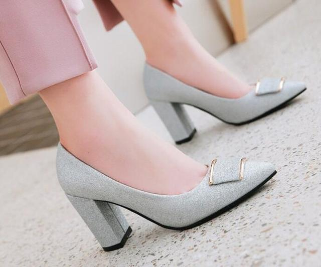 women glitter wedding shoes woman pumps high heels sapato feminino chunky  ladies chaussure femme zapatos mujer 447a759afd3a