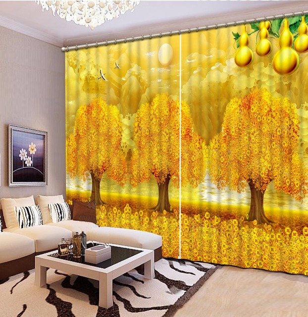 Photo Printing 3D Curtains Jade Landscape Sheer Curtains For Kids Bedroom  Children Room Curtains Yellow Curtain