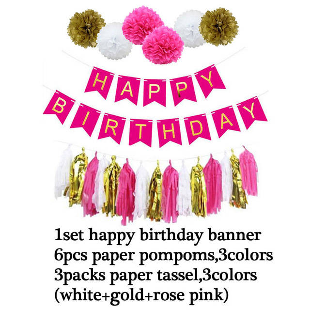 Happy Birthday Party balloons Set Foil Balloon Banners Paper Flowers Tassels Streamers decoration PD 29 in Party DIY Decorations from Home Garden