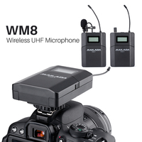 Mailada WM8 UHF Lavalier Lapel Mic DSLR Camera Recording Mic Wireless Interview Condenser Microphone System for iPhone Recorder