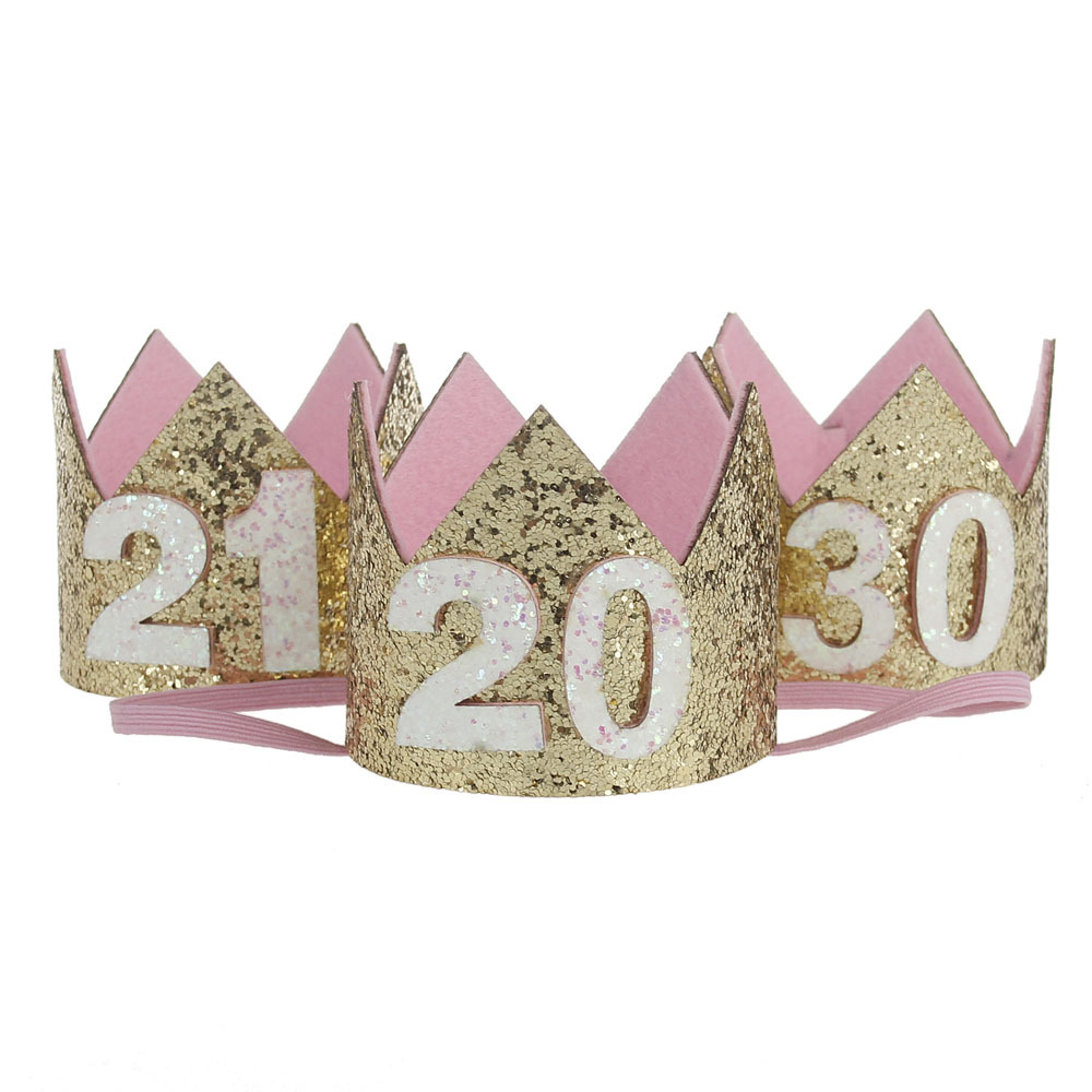 Number 20th 21th 30th 20 21 30 years older adults girls women Birthday hat Princess Crown Tiara decoration gift Hair Accessories