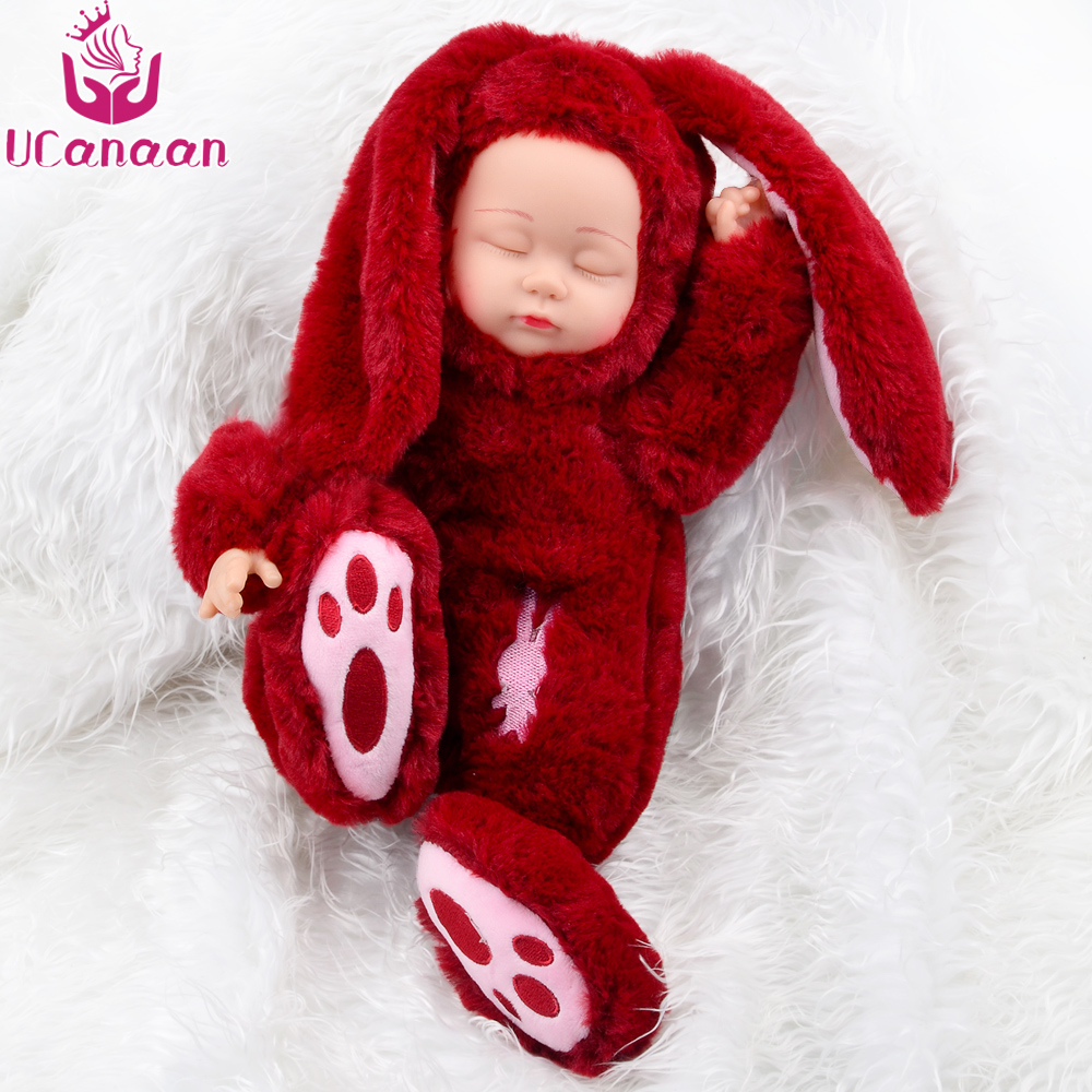 UCanaan 19 inches Plush Stuffed Toys Long ears Sleeping Rabbit Soft toys for Children Doll Fashion for Christmas Birthday Gift 38cm plush whales toys with soft pp cotton creative stuffed animal dolls cute whales toys fish birthday gift for children