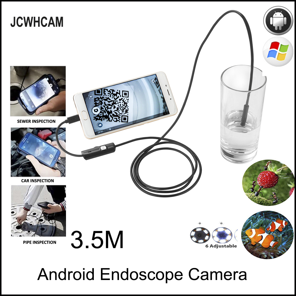 JCWHCAM Endoscope Android Camera HD 720P 8mm 5M Snake Tube Inspection Camera Car Endoscope USB Flexible Camera Waterproof eyoyo nts200 endoscope inspection camera with 3 5 inch lcd monitor 8 2mm diameter 2 meters tube borescope zoom rotate flip