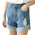 2017 nuevo Agujero Rebabas Shorts Vaqueros Para Las Mujeres Nueva Ancha de Cintura Alta tasse bolsillos pierna Pantalones Cortos de Moda Pantalones Cortos más el tamaño S-5XL