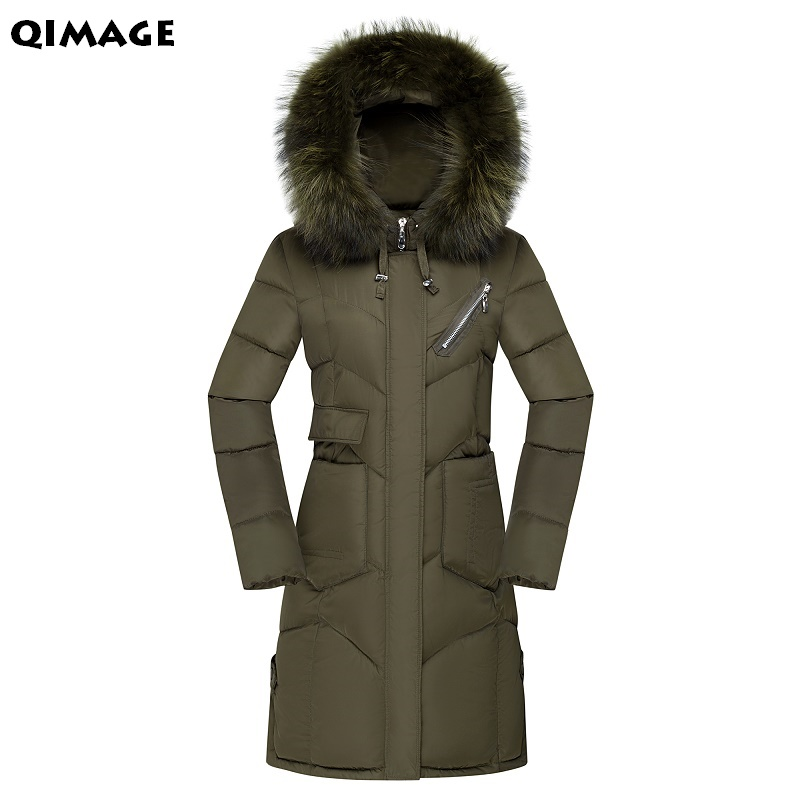 QIMAGE Women's Winter Cotton Padded Jackets Slim Coat Parka Warm Long Jackets Hooded Overcoat Female Parkas autumn jacket coats new mens warm long coats lady cotton warm jacket padded coat hooded parkas coat winter top quality overcoat green black size 3xl