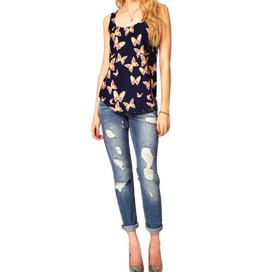 Summer Vest Tank-Top Butterfly Women Sleeveless Shirts Cami Print Clothing--50 Loose