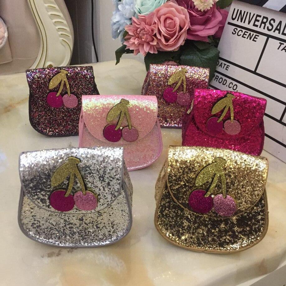 Monsisy Shine Baby Girl Purse Handbag Children Shoulder font b Bag b font Fashion Glitter Cherry