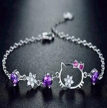 Регулируемый размер кубического циркония AAA Австрия Кристалл Браслеты для женщин jewelry 100% реальные 925 пробы серебряный браслет Cat CB1030