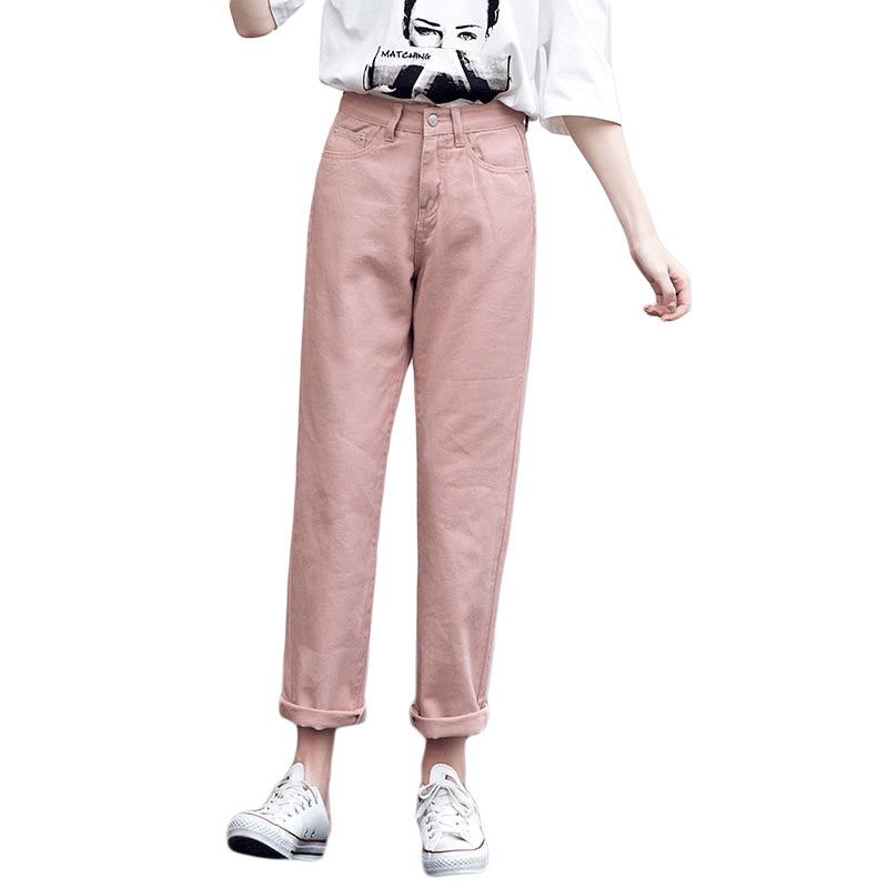 Jeans Harem For Women Loose Vintage Harem Beige Women's Jeans Pants High Waist Cotton Jean Female Boyfriend Denim
