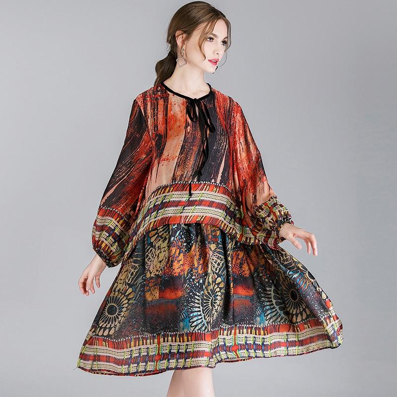 Longue Blue Chinois Mode Black Robes Du Style Printemps Cou Nouvelle Dames red Taille Impression Orange Haute Décontracté Femmes Lâche Élégante Robe Ras De Grande wqtXgHw
