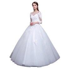 New 2019 Autumn Lace Appliques  Wedding Dresses See through Bodice Long Sleeve Vestido De Novia Arabic Dubai Style Wedding Dress