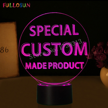 Specail Customer Make Product 3D Lights USB 7 Color LED Customise Lamp as Kids Creative Gift