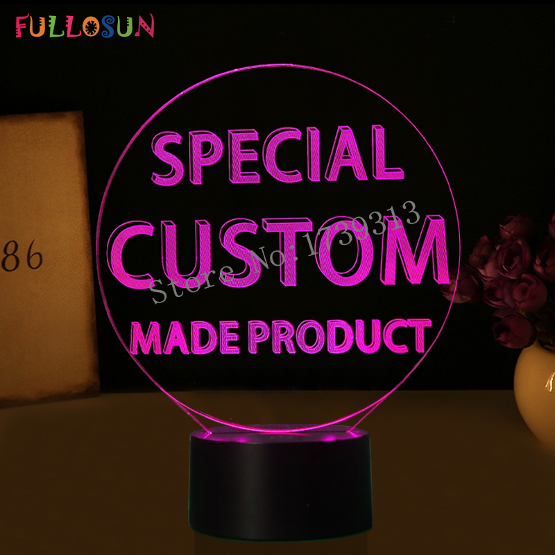 Specail Customer Make Product 3D Lights USB 7 Color LED Customise Lamp as Kids Creative Gift customise