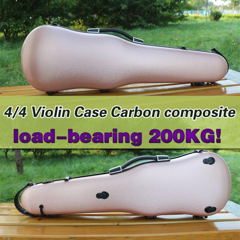 Yinfente 4/4 скрипка случае углеродного цвета розового золота Высокая прочность нагрузка 200 кг