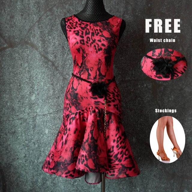 2018 新しいラテンダンスドレスの女性ローズレッド Leopard のネット糸大人サンバ衣装女性競争パフォーマンスの摩耗ドレス DN1212