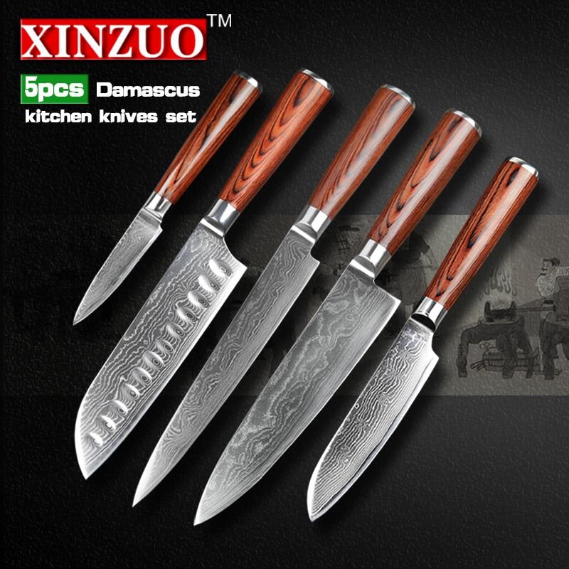 XINZUO 5 pcs kitchen font b knife b font set 73 layers Damascus kitchen font b