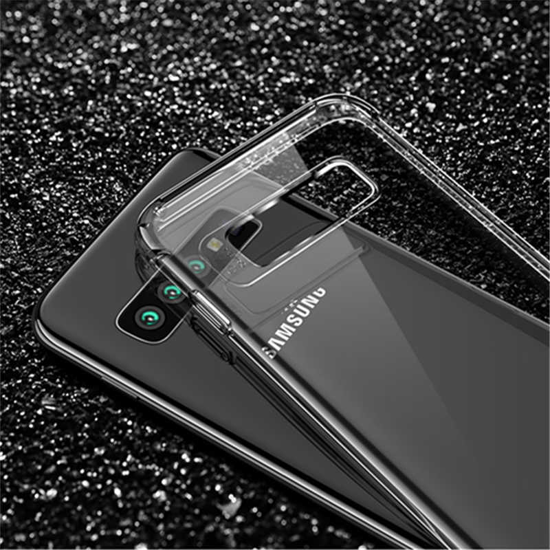 Kristal Transparan Lembut TPU Case untuk Samsung Galaxy S10e S8 S9 S10 Plus Catatan 9 8 Anti-Fall Protection ponsel Cover Fundas