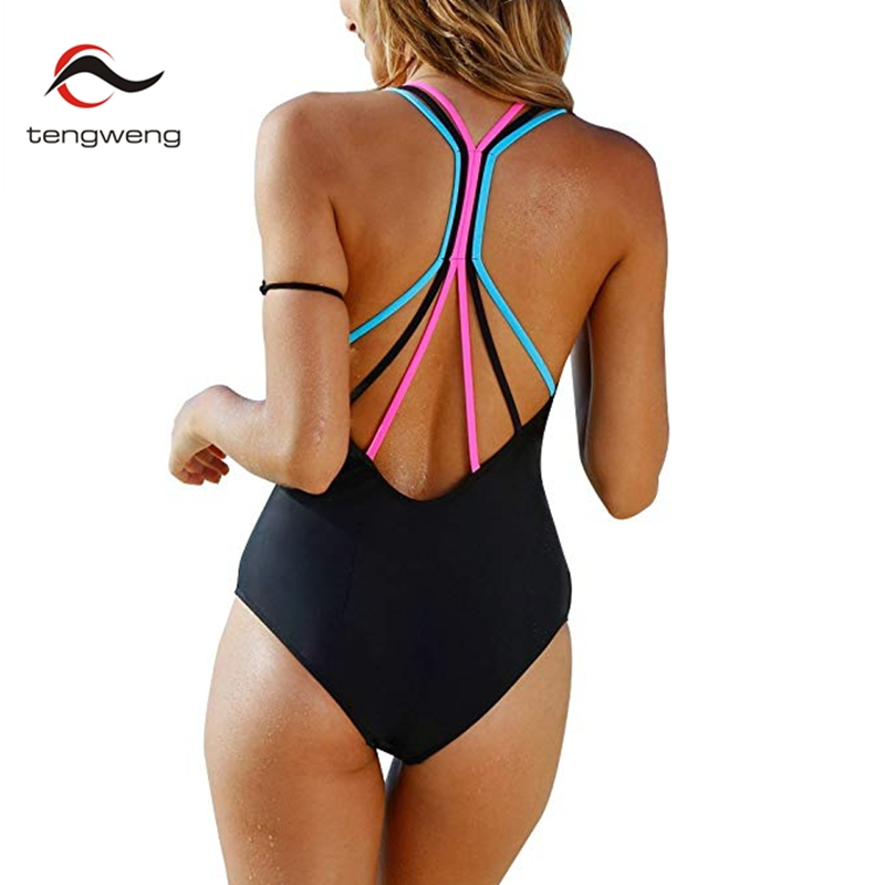 1cb0f94b81cc 2018 New Black One Piece Swimsuit Sexy Bandage Padded Bathing Suit Push Up  Solid Thong Backless Swimwear Women Monokini Female