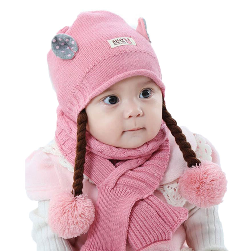 Winter Baby Girl Hat And Scarf Set For Children Cute Ear Kids Ribbed Knit Pom Pom Beanie Cap Scarves Warm Wear 2 Pcs Suit M5164