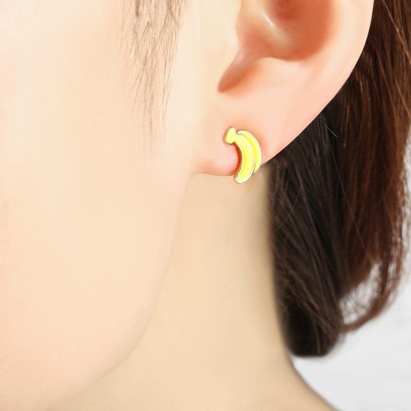 Lovely Asymmetric Alloy Stud Earrings Women Animals Rabbit Monkey Carrots Banana Shapes Stud earring For Girls Children Jewelry