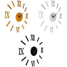 цена на 3D Acrylic Mirror Wall Clocks Surface Roman Numerals Wall Clock Stickers Home DIY Decor