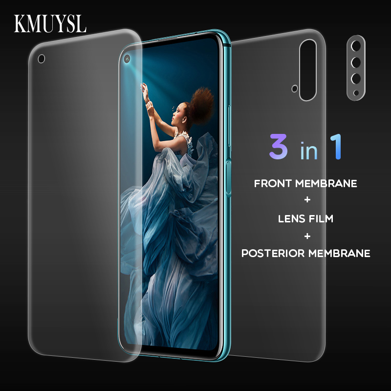 9D Full Cover Film For Huawei Honor 20 Pro Screen Protector Hydrogel Front Film + Back Film + Camera Lens Glass On For Honor 20