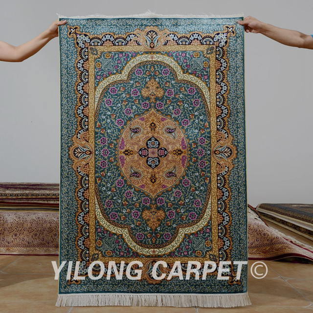 Yilong 3 X4 5 Antique Persian Silk Area Blue Carpet Hand Knotted Exquisite
