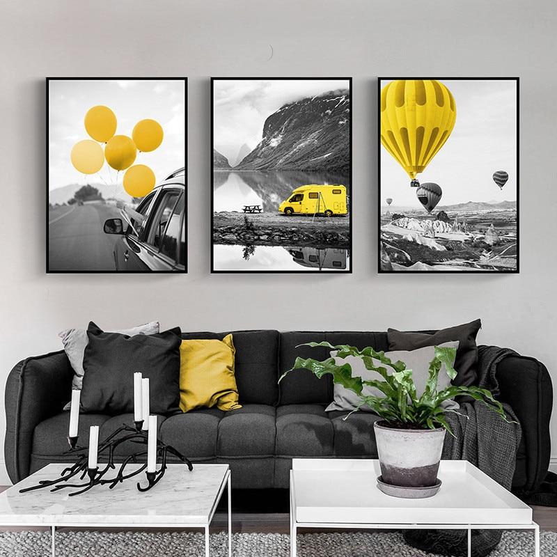 Carteles e impresiones modernos de globo amarillo paisaje lienzo pintura sin marco para pared cuadros para la decoración del hogar de la sala de estar