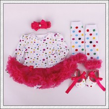 4PCs per Set Infant Outfits Polka Dots Baby Girls Long Sleeves Tutu Dress Headband Shoes Leggings for 0-12months Free Shipping