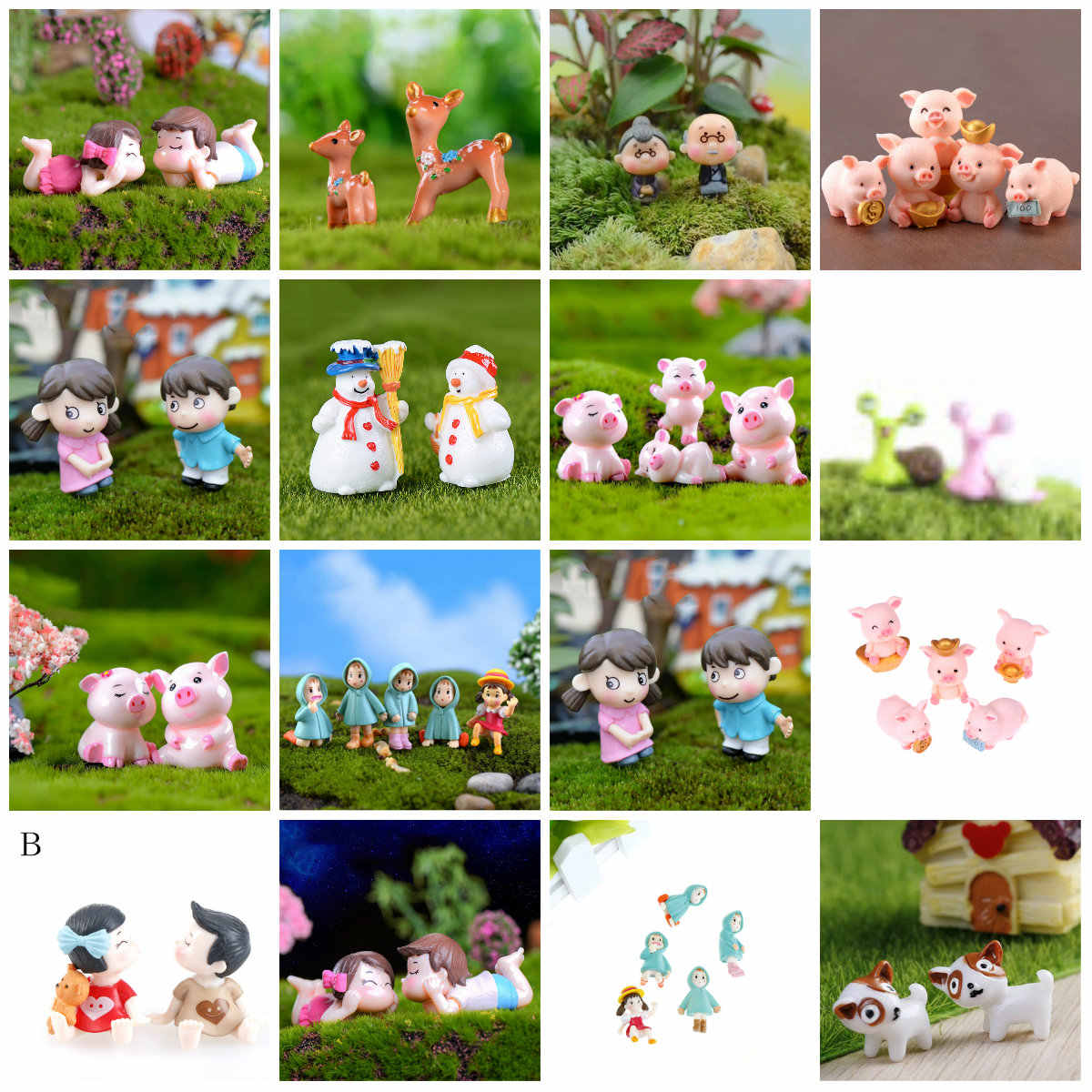 Home Decoration Multi-Style Sweety Lovers Couple/Fu Pig/Dog Figurines Miniatures Fairy Garden Gnome Moss Terrariums Resin Crafts