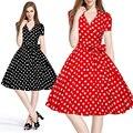 Лето Женщины Ретро Dress 50 s 60 s Vintage Рокабилли Свинг feminino vestidos V шеи короткие рукава Dot печати платья плюс размер XXL