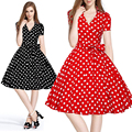 Summer Women Retro Dress 50s 60s Vintage Rockabilly Swing feminino vestidos V neck short sleeves Dot print dresses plus size XXL