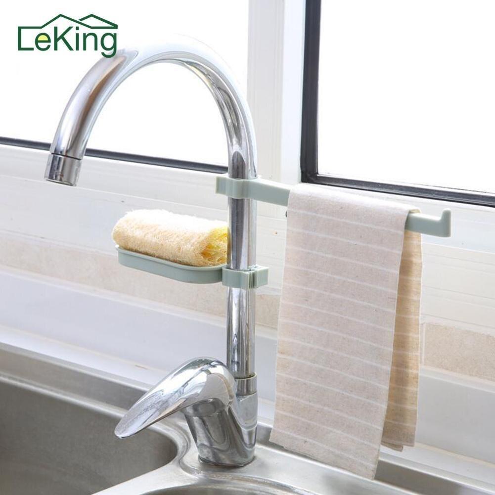 Faucet Drain Rack Pool Storage Rack Kitchen Supplies Sink Sponge Cloth Drain Rack Combination Clamped Towel Rack Soap Dish