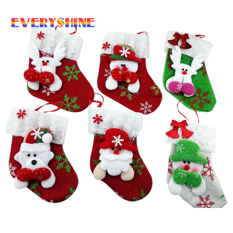 christmas decorations 6pcslot santa claus snowman deer christmas stockings ornaments christmas festival gifts holders bags sd23