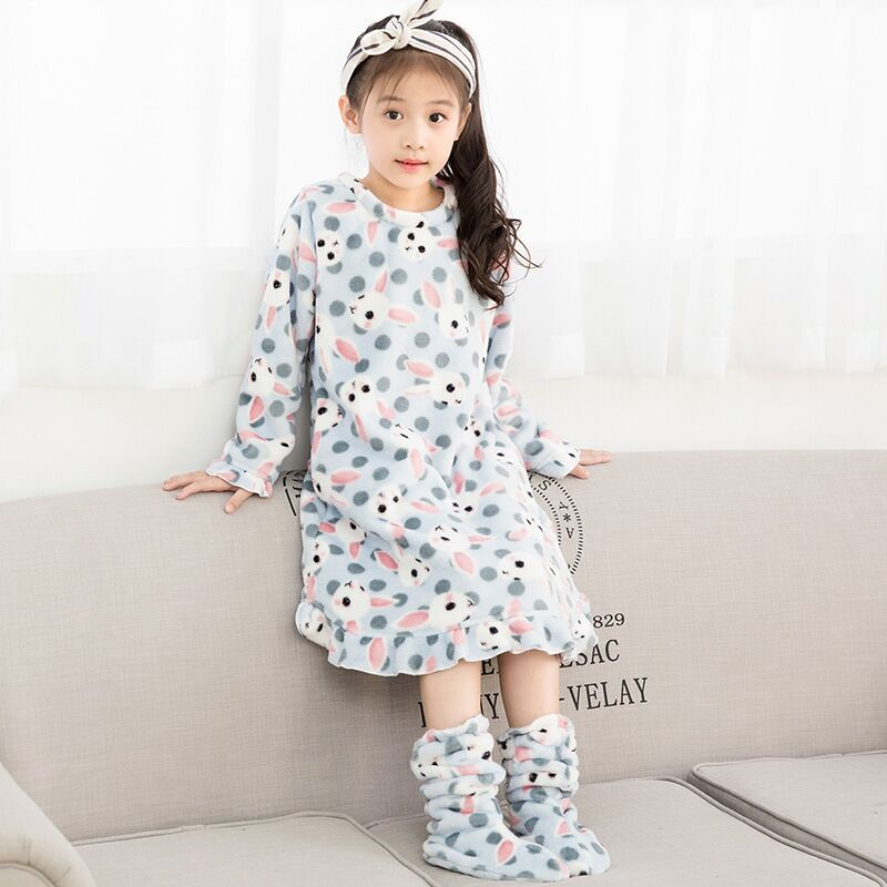 2 12T Girls Nightgown Cartoon Pattern Flannel Girls Sleepwear Long Sleeve  Children Nightgown For Girls Nightdress Kids Pajamas-in Nightgowns from  Mother ... 4782efe6af