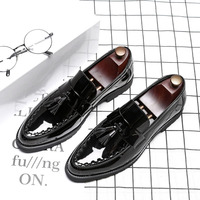 Luxury Men Shoes Patent Leather Office Dress Shoes Pointed Toe Plus Size 38 46 Tassel Flat Loafers Oxford Shoes Delocrd