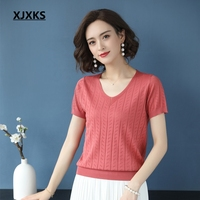 XJXKS Women Sweaters And Pullovers Thin Short Sleeve Solid Color Young Women Pull Femme Soft Comfortable Women Pullover Sweaters