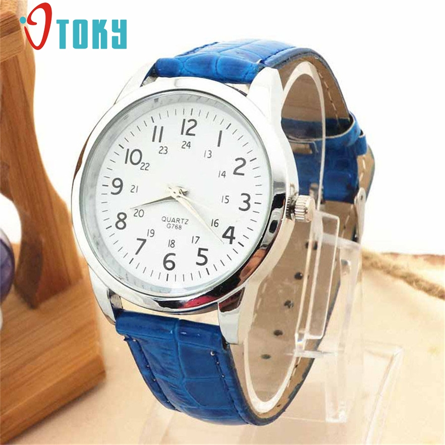 OTOKY relojes hombre Wrist Watch men fashion Sports mens Faux Leather Strap Quartz watches Gift 1pcs cartoon gold horse print blue leather strap sports ladies quartz watch relojes hombre 2017 bayan saat women watches hodinky b133