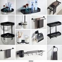 12 Items in full Black Bathroom Hardware set Square soap dish ceramic bathroom accessories sets