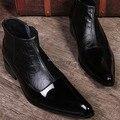Estilo europeo real top cow leather qshoes botas labradas mens a estrenar del diseño de vestir de negocios hombres moda casual punta estrecha boot sl1