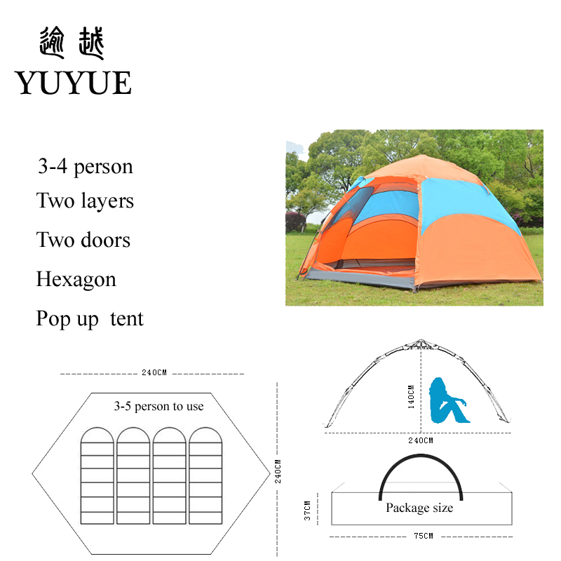 3-4 person waterproof pop up tent for winter fishing hiking outdoor Camping Tent Waterproof family party tent no-see-um mesh 3