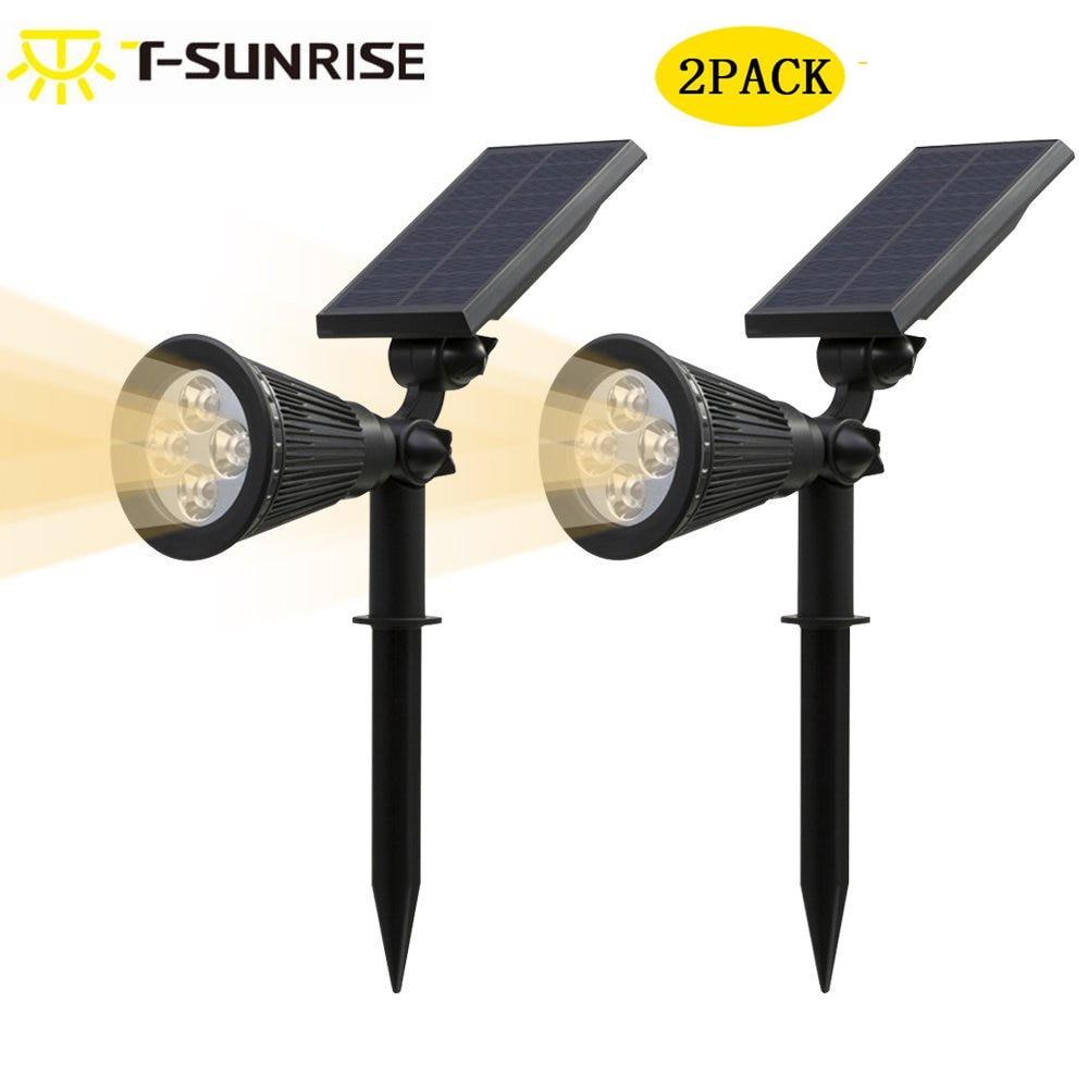 T-SUN 2 Pack արևային Spotlgiht IP65 անջրանցիկ 4 LED բացօթյա լուսարձակ լույսի լանդշաֆտային լույսը կարգավորելի է բակի այգու տաք մասերի համար