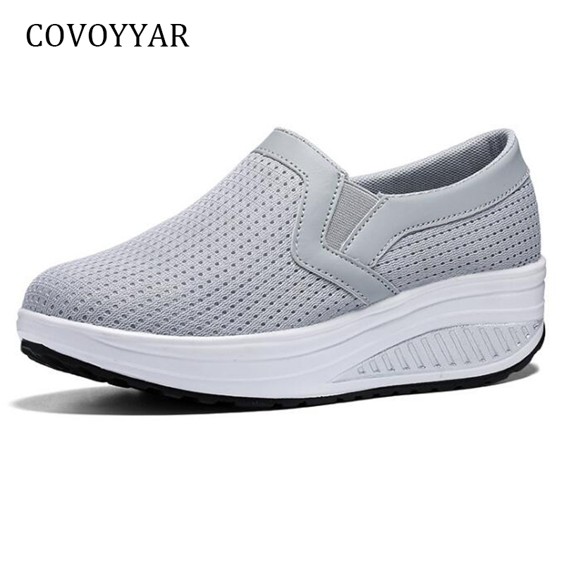 COVOYYAR Women Sneakers 2019 Mesh Breathable Casual Shoes Comfort Platform Wedges Walking Shoes Women Slip On Big Sizes WSN697