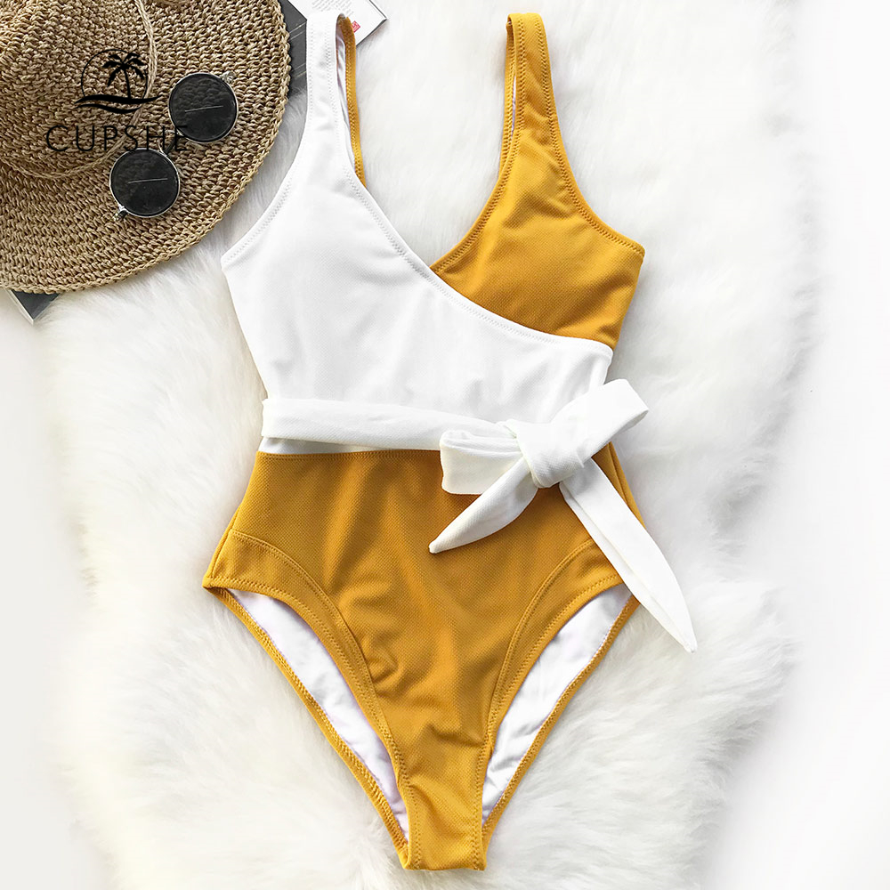 Cupshe Yellow And White Colorblock One-piece Swimsuit Women Patchwork Belt Bow Monokini 2018 V-neck Beach Bathing Suit Swimwear cupshe burgundy heart attack falbala one piece swimsuit women ruffle v neck monokini 2018 new girls beach bathing suit swimwear