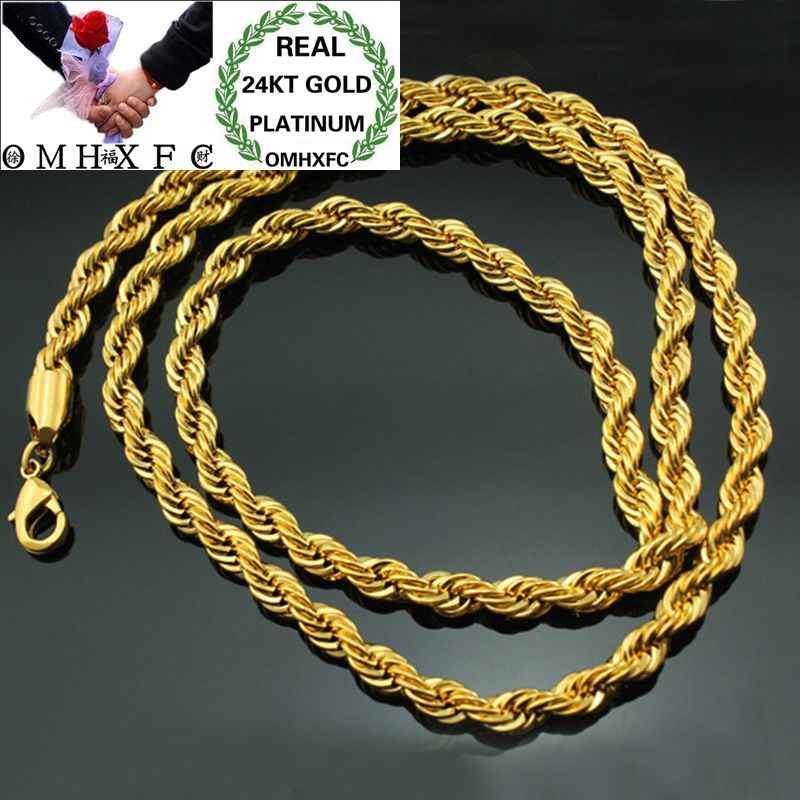 OMHXFC Wholesale European Fashion Man Male Party Birthday Wedding Gift Long 50cm Twisted Real 18KT Gold Chain Necklace NL11