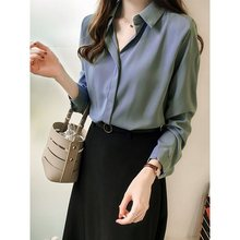 Women White Shirt Office Elegant Long Sleeve Tops Spring Hot Blue Korean Chiffon Blouse Vintage Black Chic Shirts Female Clothes